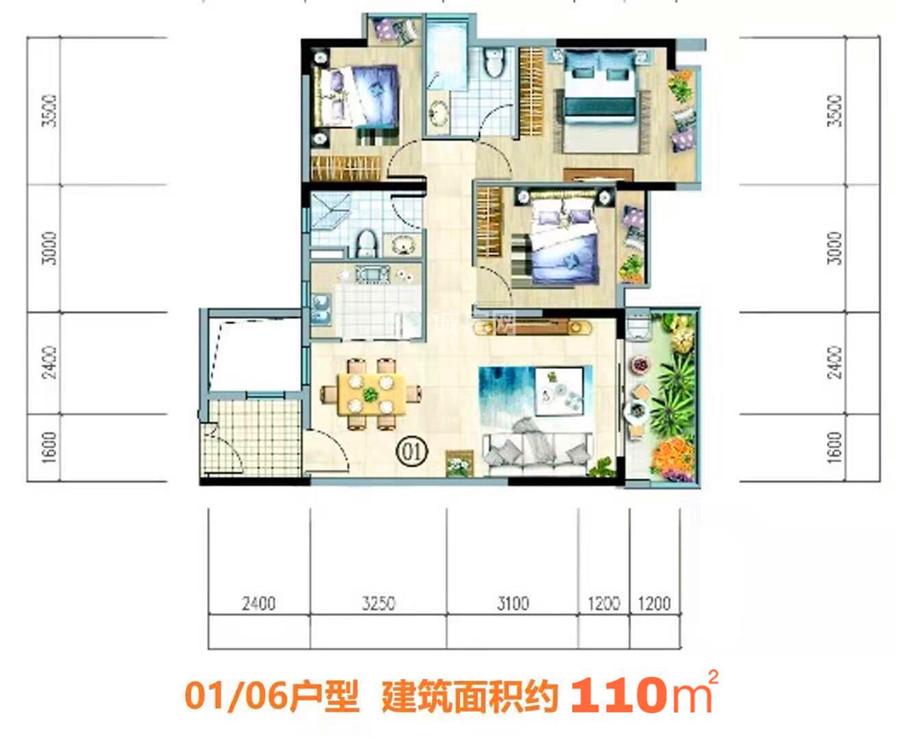 富力悦海湾3房2厅2卫 (建筑面积:110.00㎡)