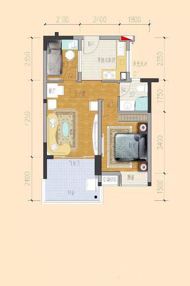 临海家园1室2厅1卫1厨 (建筑面积:53.00㎡)