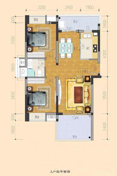 临海家园2室2厅1卫1厨 (建筑面积:84.00㎡)