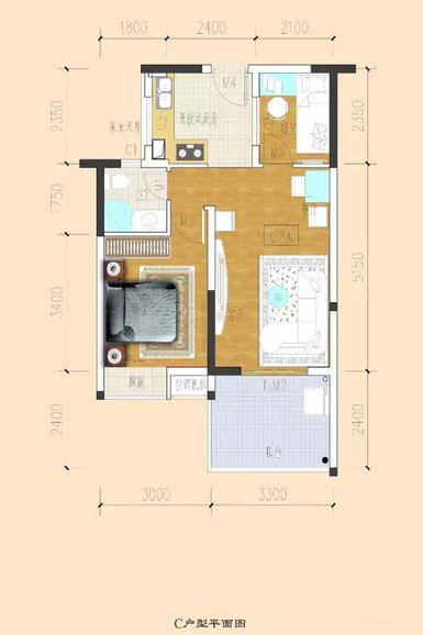 临海家园1室2厅1卫1厨 (建筑面积:56.00㎡)