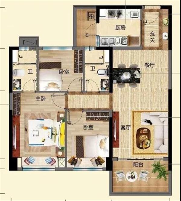 碧桂園金沙灘3室2廳2衛 (建筑面積:104.00㎡)