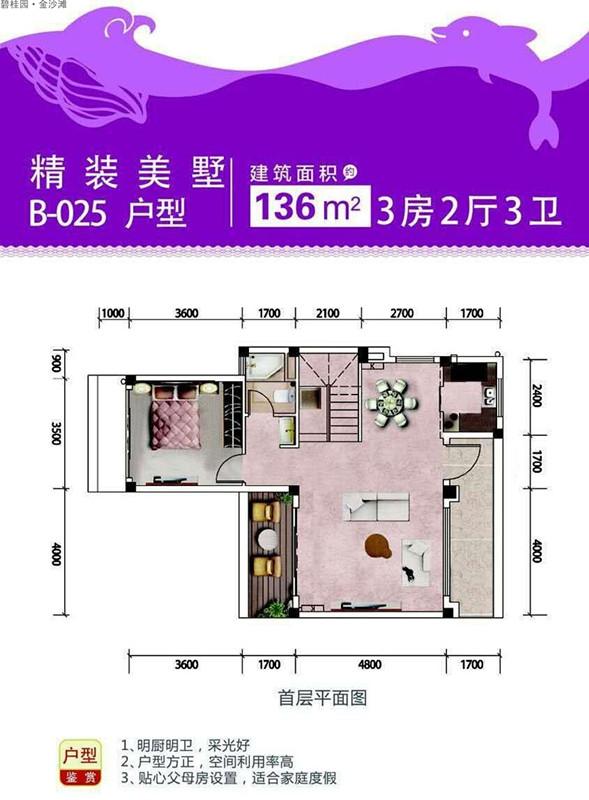 碧桂園金沙灘3室2廳3衛 (建筑面積:136.00㎡)