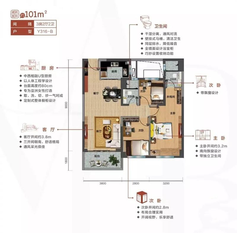 碧桂园剑桥郡3室2厅2卫1厨 (建筑面积:101.00㎡)