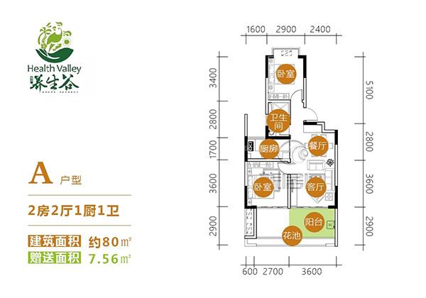 愛克養生谷2室2廳1廚1衛 (建筑面積:80.00㎡)