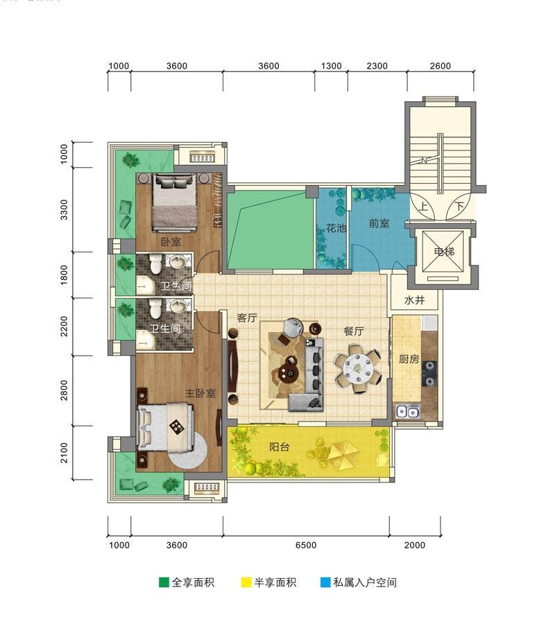 卓越盈滨悦府2房2厅 (建筑面积:126.00㎡)