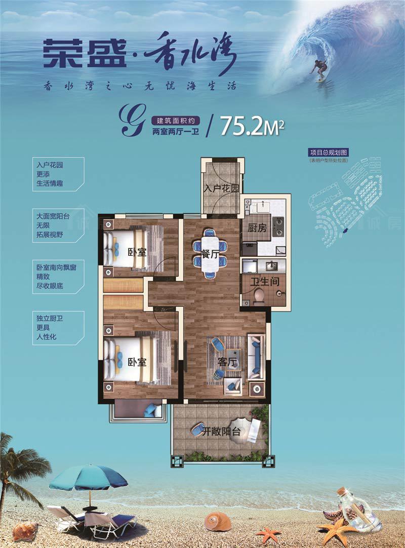 荣盛香水湾2室2厅1卫 (建筑面积:75.00㎡)