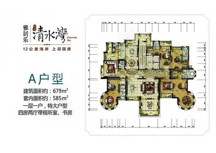 雅居乐清水湾4室2厅 (建筑面积:679.00㎡)