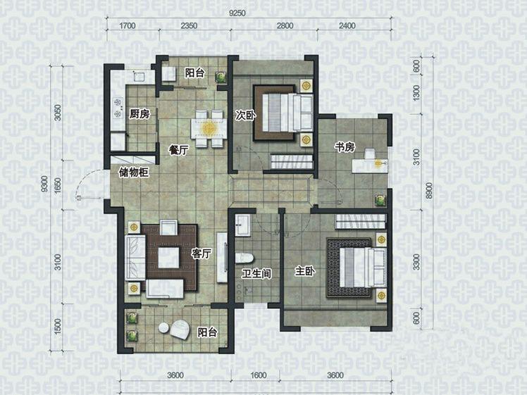椰島小城3室2廳1衛1廚 (建筑面積:87.00㎡)