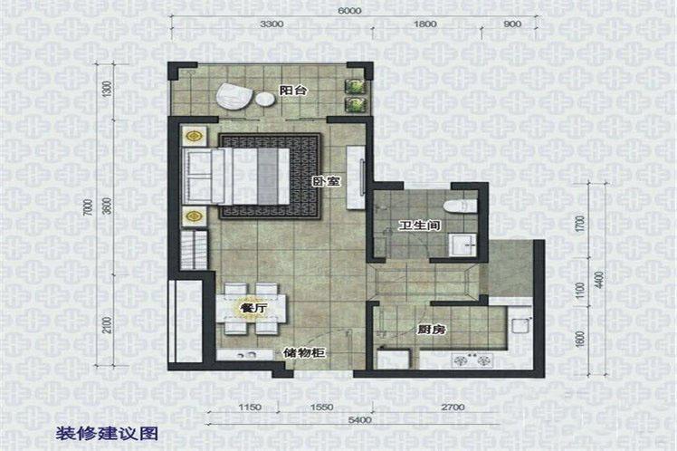 椰岛小城1室1厅1卫1厨 (建筑面积:39.00㎡)