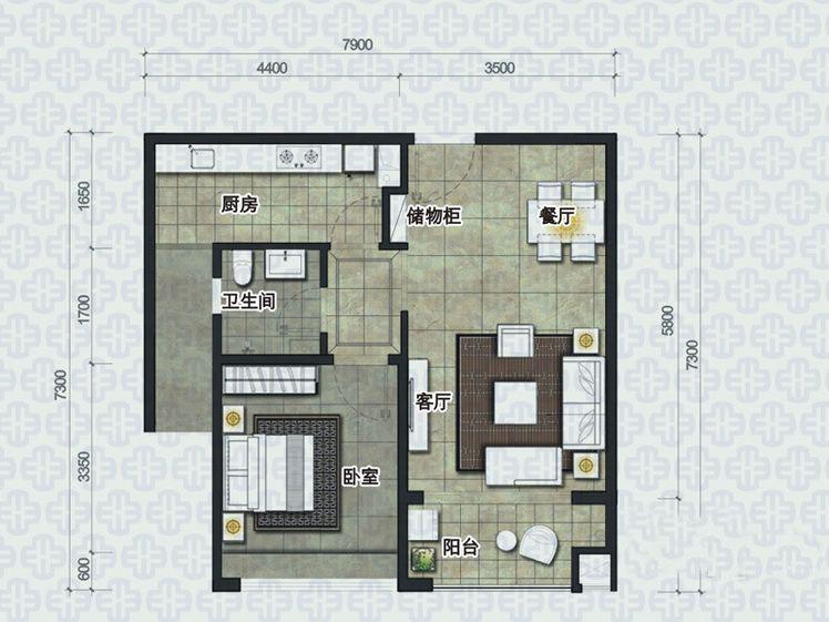椰岛小城1室2厅1卫1厨 (建筑面积:62.00㎡)