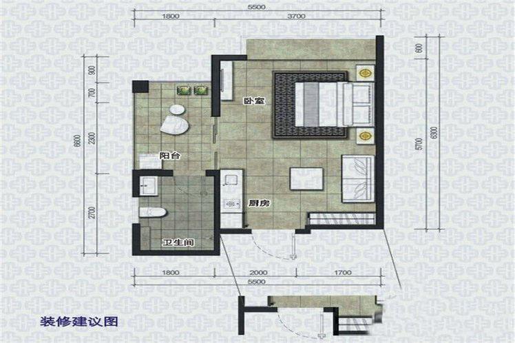 椰岛小城1室--厅1卫1厨 (建筑面积:41.00㎡)