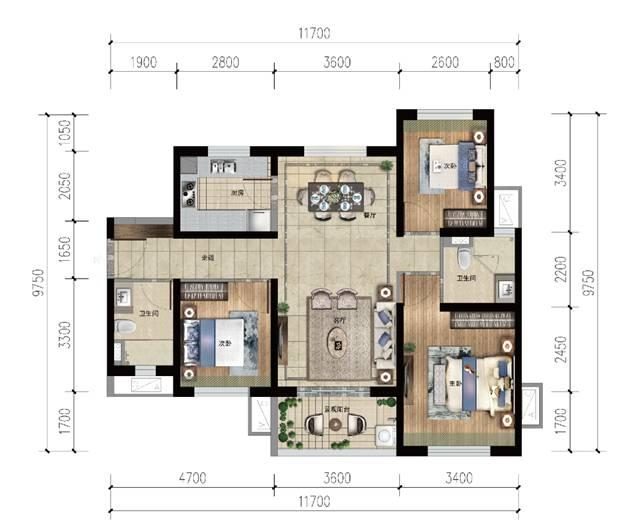 雅居乐金沙湾3房2厅2卫 (建筑面积:104.00㎡)