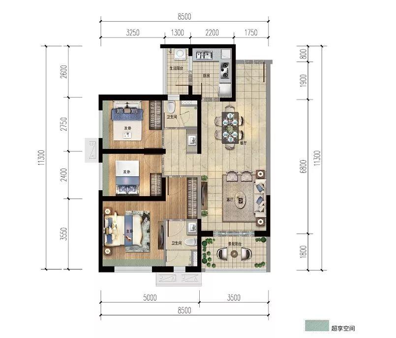 雅居乐金沙湾3房2厅2卫 (建筑面积:97.00㎡)