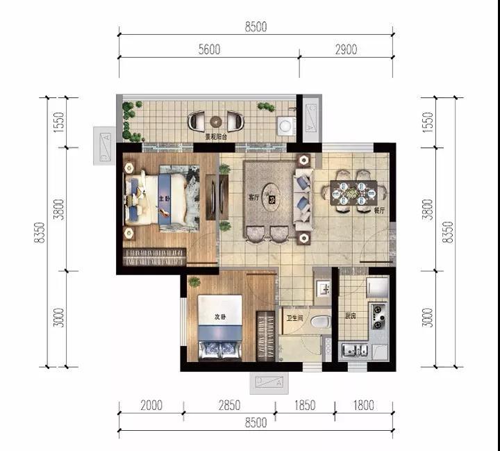 雅居乐金沙湾2房2厅1卫