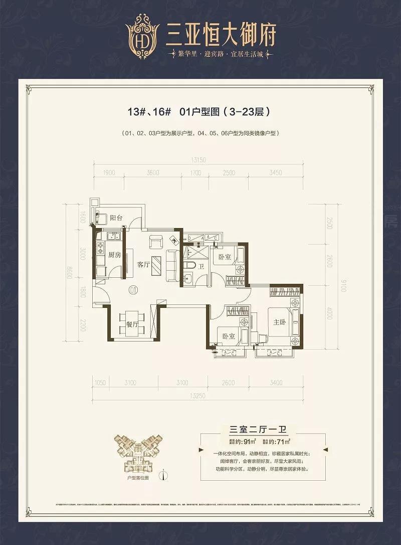 三亚恒大御府3室2厅1卫 (建筑面积:91.00㎡)