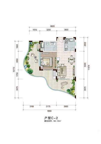 白金海岸二期1室1厅1卫1厨 (建筑面积:56.00㎡)