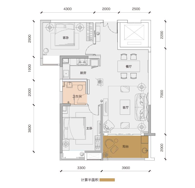 鲁能三亚湾2房2厅1卫 (建筑面积:88.00㎡)
