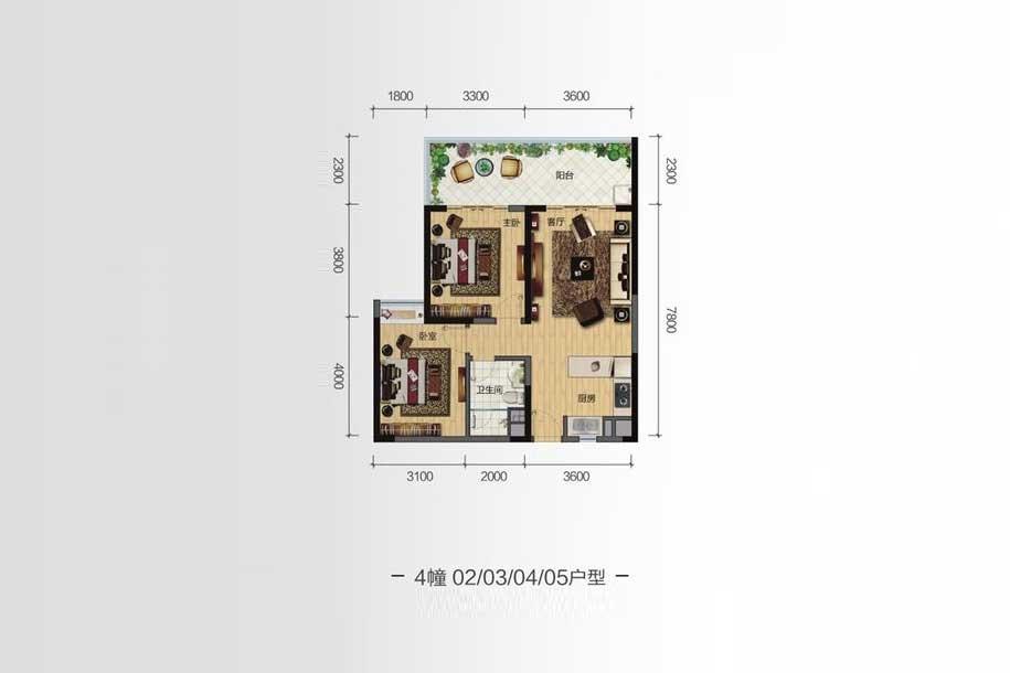 雅居乐月亮湾2室1厅1卫1厨 (建筑面积:86.00㎡)