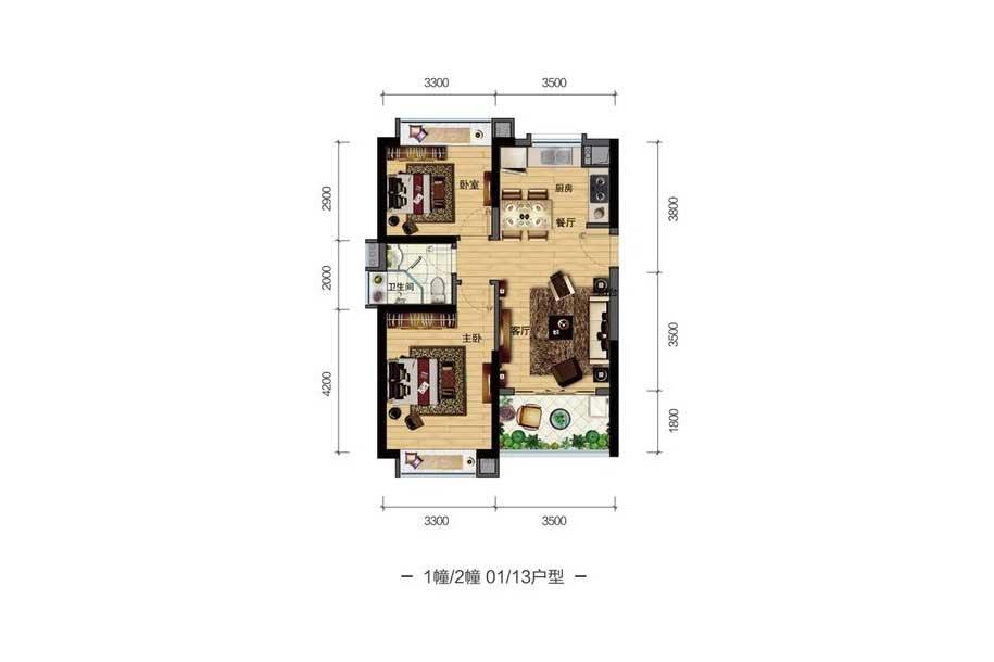 雅居乐月亮湾2室2厅1卫1厨 (建筑面积:73.00㎡)