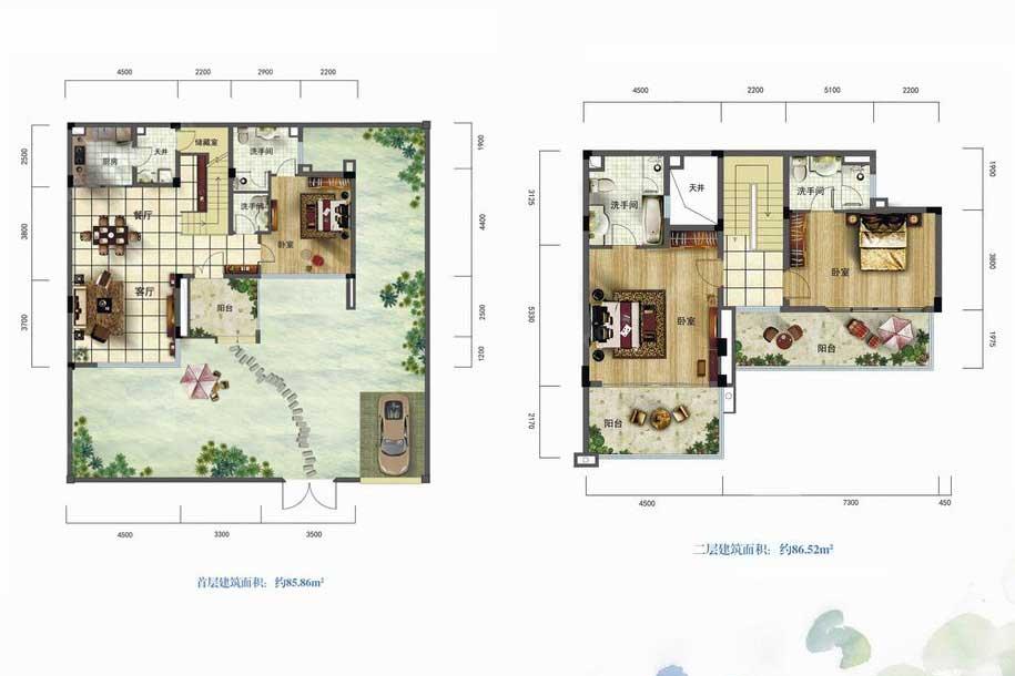 雅居乐月亮湾3室2厅4卫1厨 (建筑面积:172.38㎡)