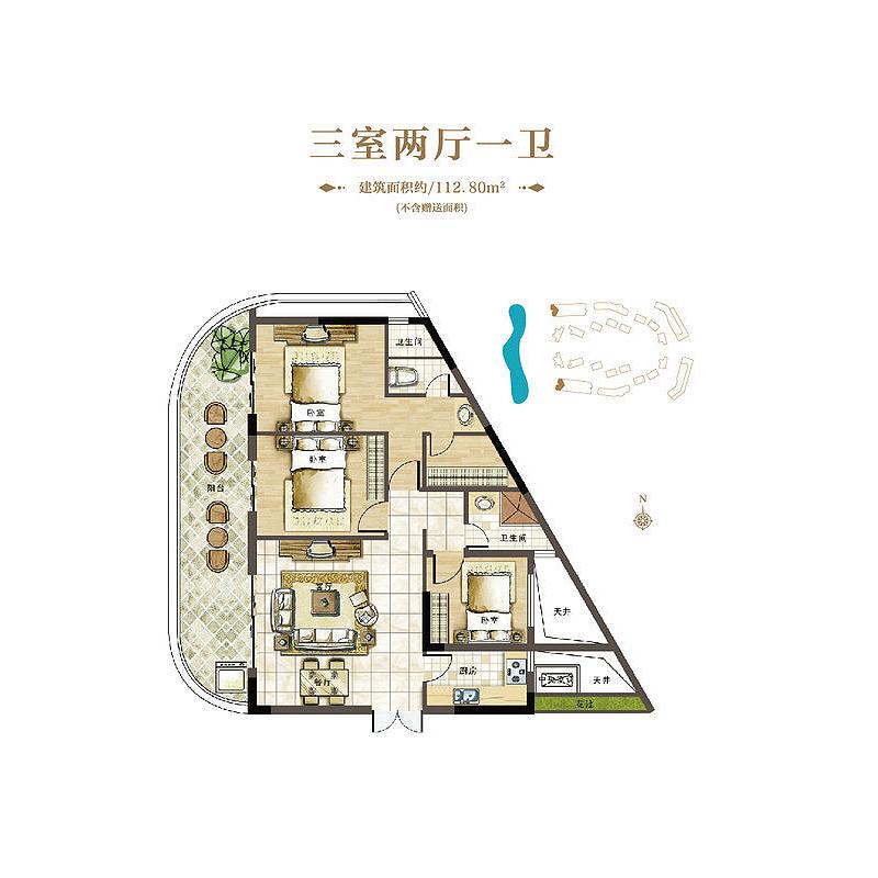 崖州湾壹号3室2厅2卫 (建筑面积:113.00㎡)