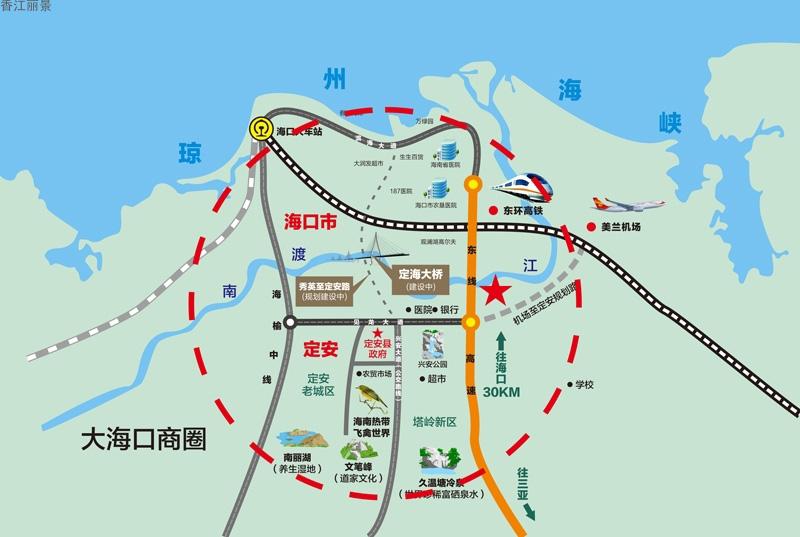 粤泰香江丽景交通图