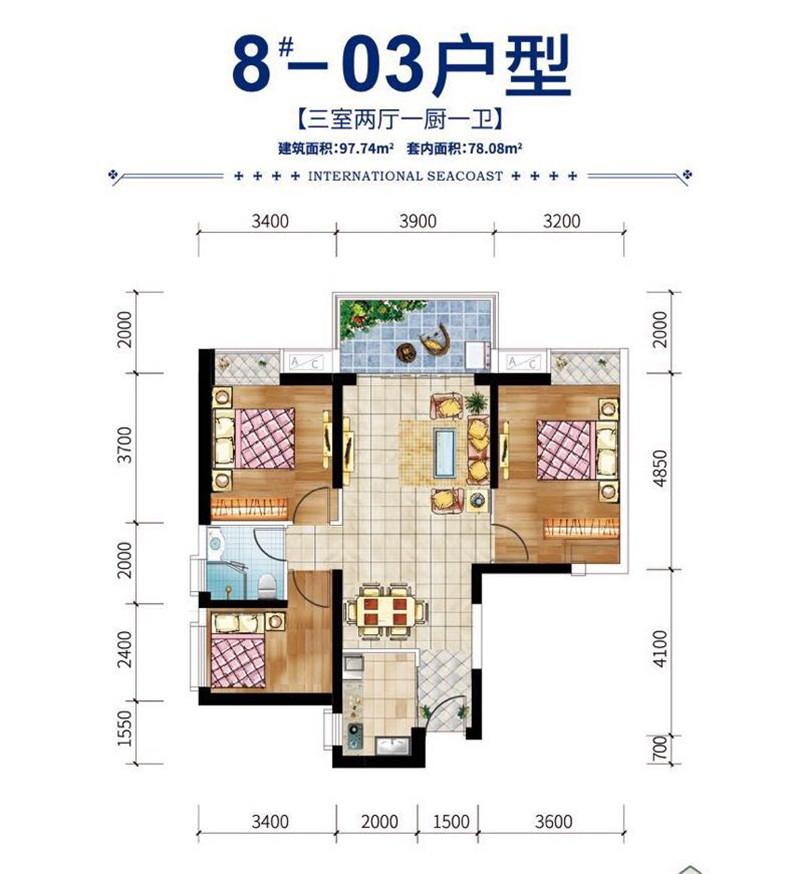 碧桂園濱江海岸3室2廳1廚1衛 (建筑面積:98.00㎡)
