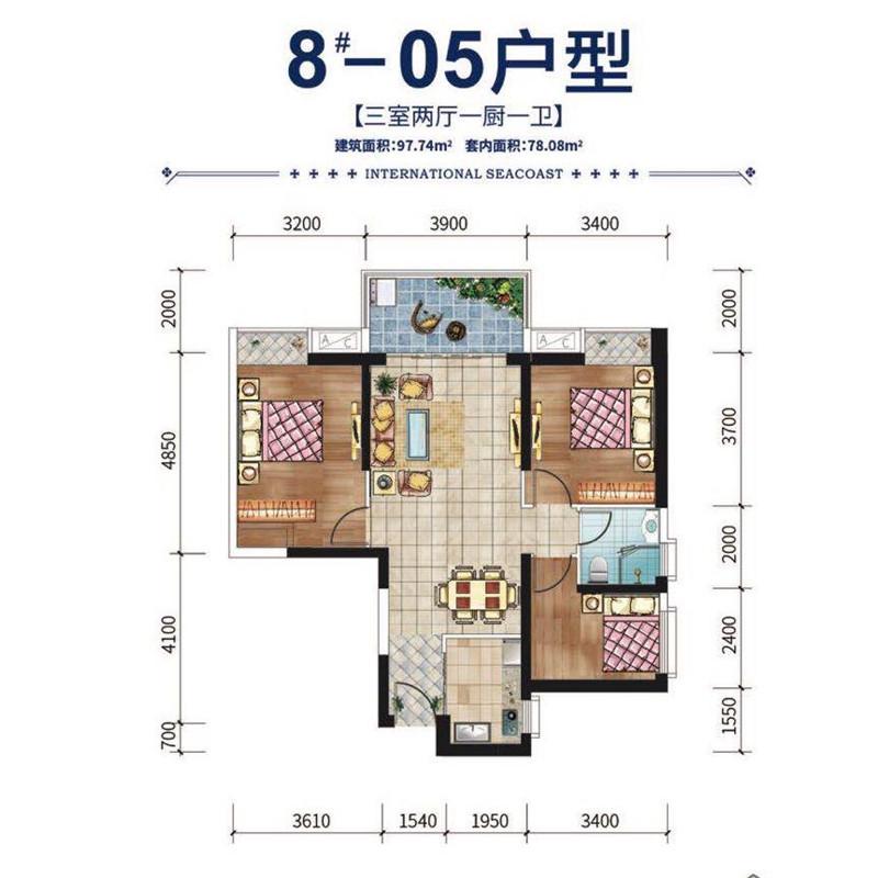 碧桂园滨江海岸3室2厅1厨1卫 (建筑面积:98.00㎡)