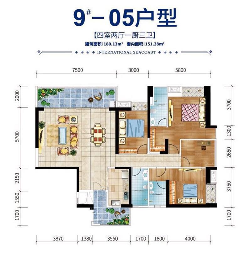 碧桂园滨江海岸4室2厅1厨3卫 (建筑面积:180.00㎡)