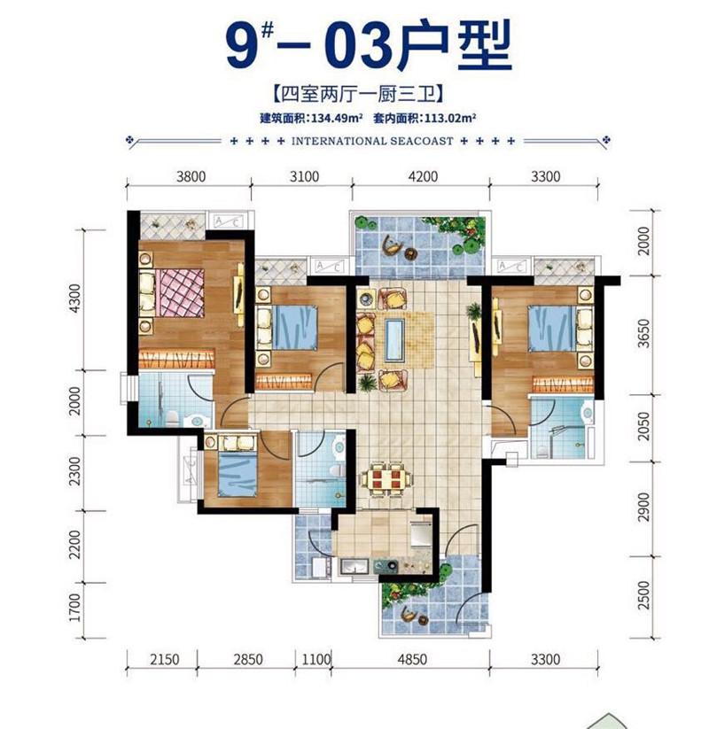 碧桂园滨江海岸4室2厅1厨3卫 (建筑面积:134.00㎡)