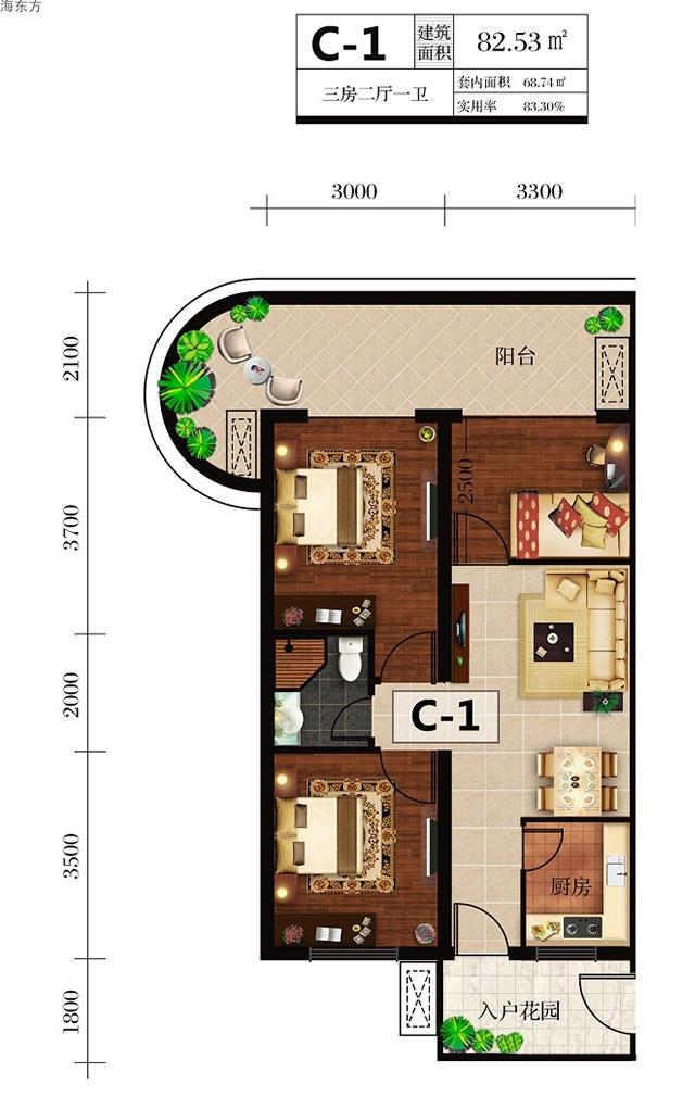 海东方3室2厅1卫