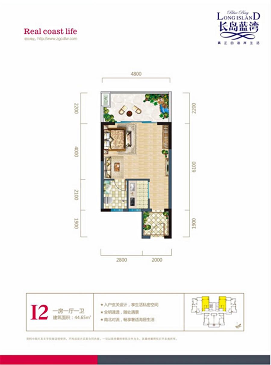 长岛蓝湾1房1厅1卫 (建筑面积:44.65㎡)