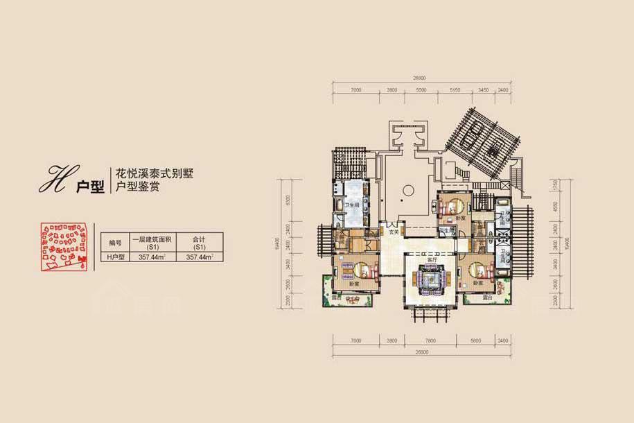 鸿洲江山3室2厅4卫1厨