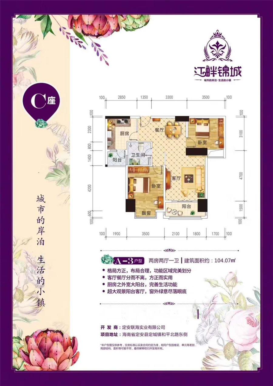 江畔锦城2室2厅1卫 (建筑面积:104.07㎡)