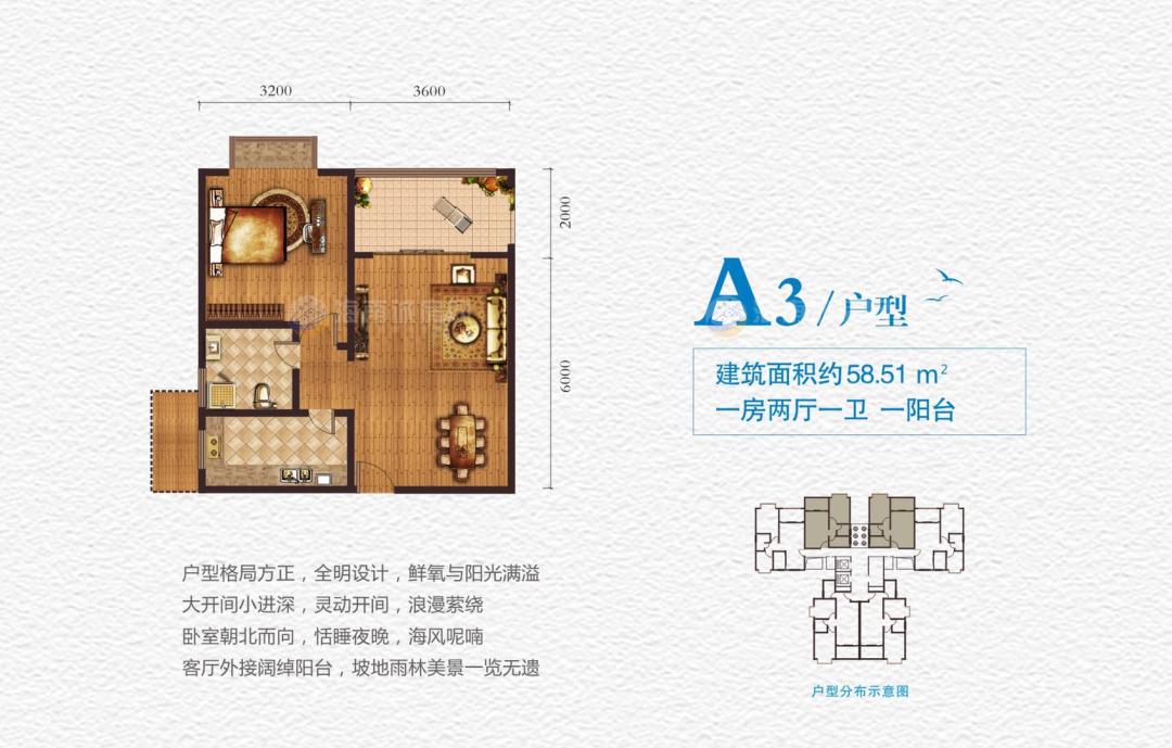海湾雨林1房2厅1卫1阳台 (建筑面积:58.51㎡)
