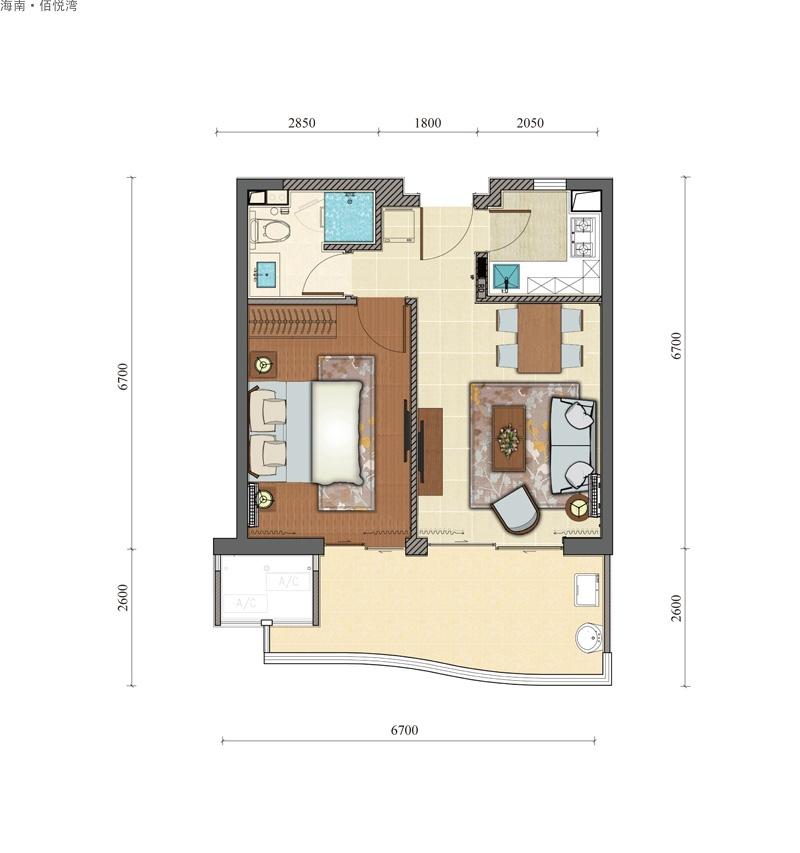 海南佰悦湾1室2厅1卫1厨 (建筑面积:69.00㎡)