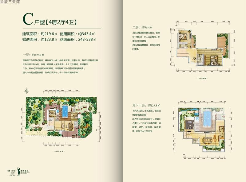 鲁能三亚湾4室2厅4卫 (建筑面积:220.00㎡)