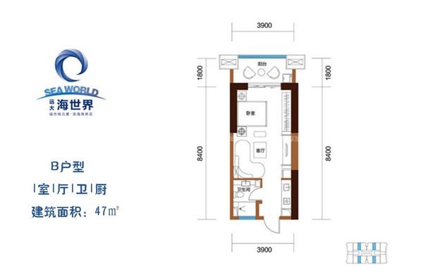 远大购物广场1室1厅1卫1厨 (建筑面积:47.00㎡)