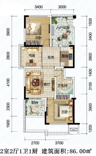 清澜半岛2室2厅1卫1厨 (建筑面积:86.00㎡)