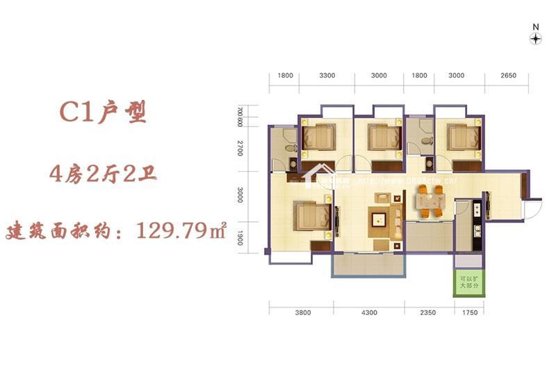 凯丰滨海幸福城4房2厅1厨2卫