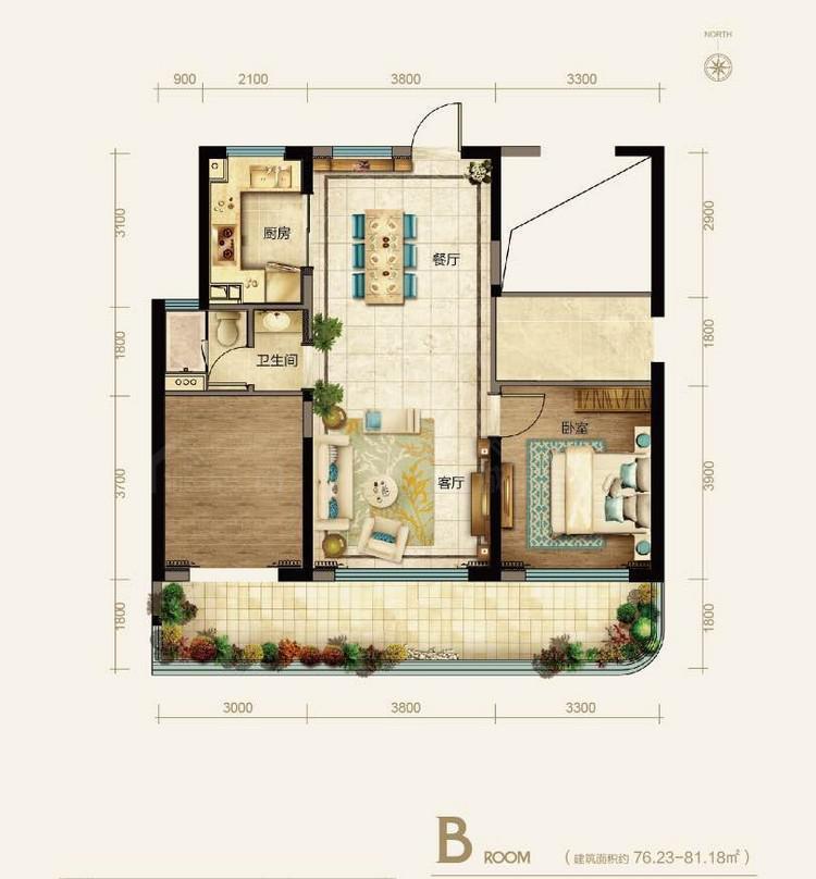 融创观澜湖公园壹号1室1厅 (建筑面积:81.00㎡)