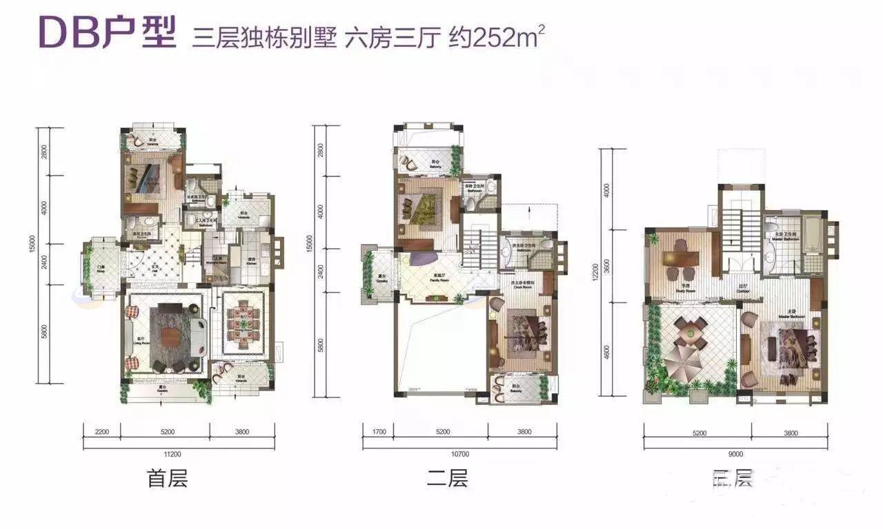 富力盈溪谷6房3厅 (建筑面积:252.00㎡)