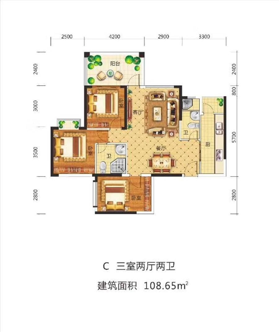 金澜湾3房2厅2卫 (建筑面积:108.65㎡)