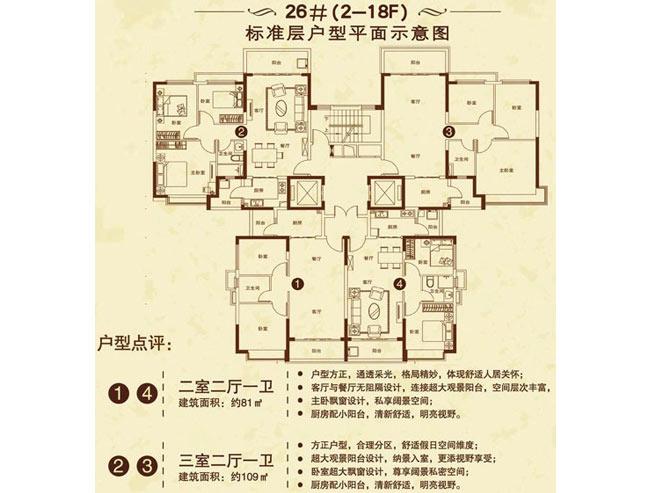 海南恒大御景湾26#(2-18F) 2室2厅1卫1厨 (建筑面积:81.00㎡)