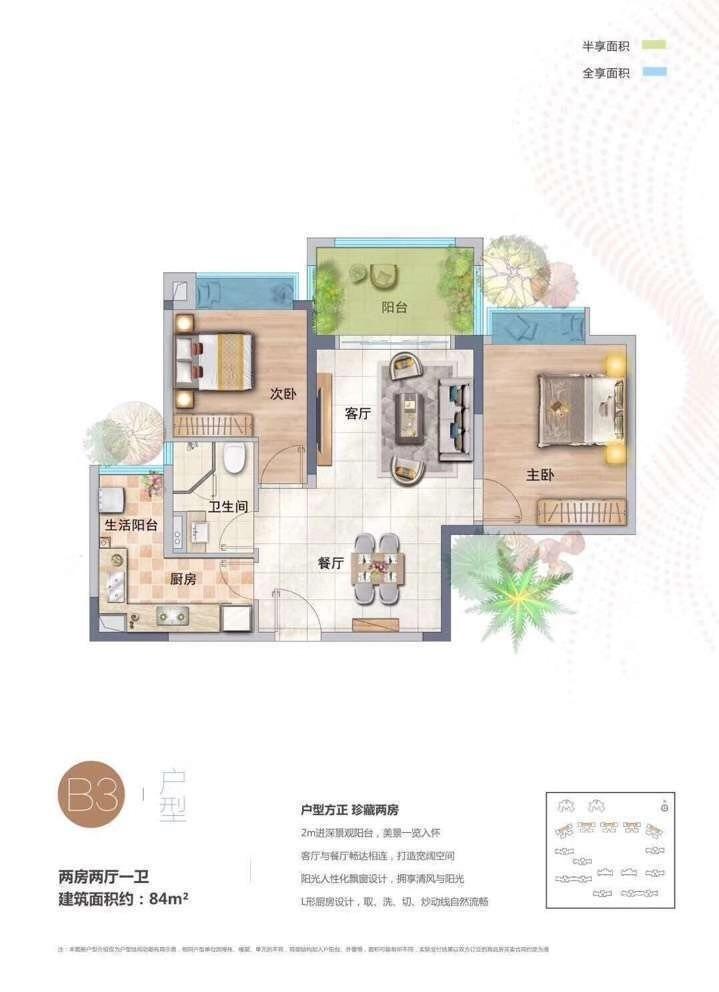 星华海岸城2室2厅1卫1厨 (建筑面积:84.00㎡)