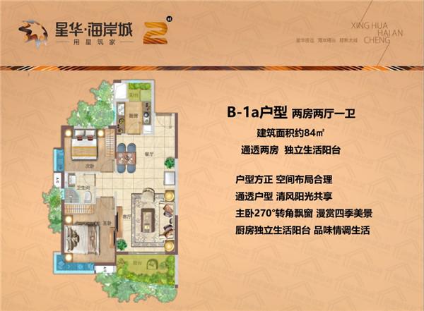 星华海岸城2室2厅1卫 (建筑面积:84.00㎡)