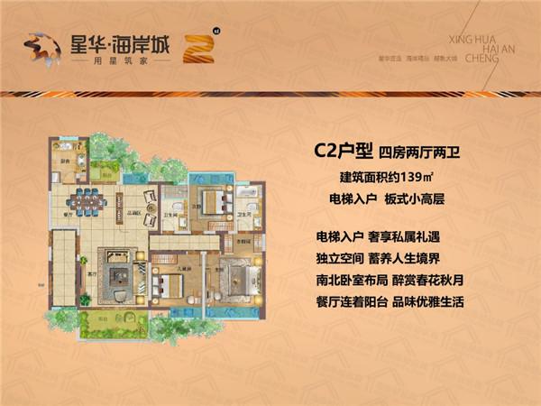 星华海岸城4室2厅2卫 (建筑面积:139.00㎡)