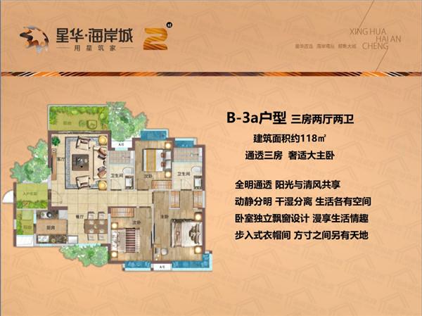 星华海岸城3室2厅2卫 (建筑面积:118.00㎡)