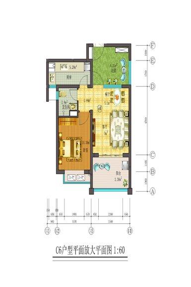 藏龙福地1室2厅1卫1厨 (建筑面积:63.00㎡)