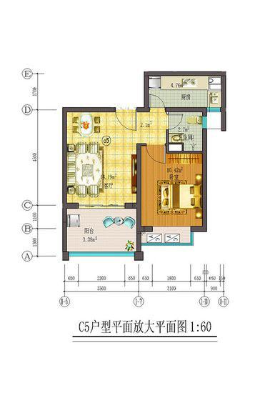 藏龙福地1室2厅1卫1厨 (建筑面积:56.00㎡)